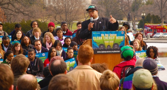 Rev. Yearwood of the Hip-Hop Caucus speaking