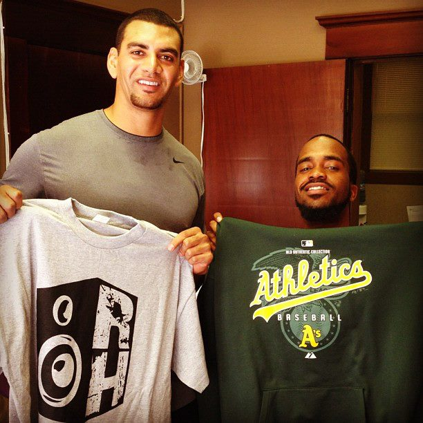 Tyson and myself trading a educational t-shirt for an athletic one.