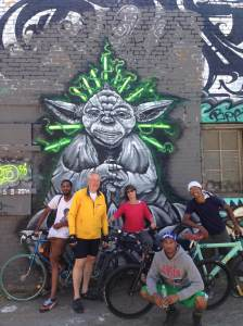 Yoda.  (A new piece in the Solano Way. Alley) Left to right: Rich, Bill, CG, G and Offie.